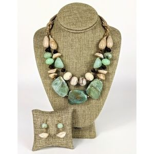 Iconic Mix Resin Stone Necklace & Earring Set